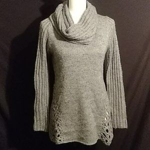 Roz and Ali gray cowl neck sweater